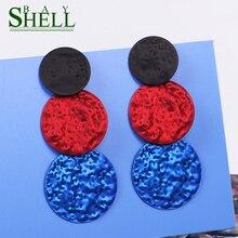 Bohemian metal Earrings For Women 2020 Big Round Spray paint Gold Drop Earring Multicolor Geometric Pendants Fashion Jewelry