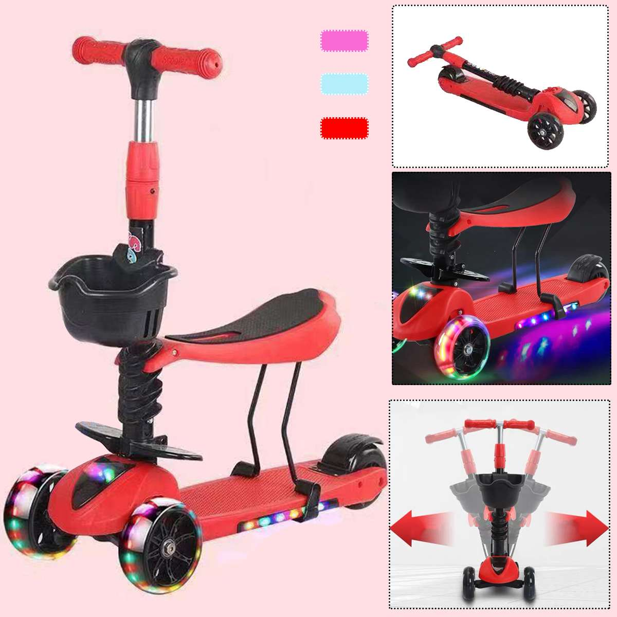 Scooter-Car Flashing-Wheels Skater Baby-Walker Folding Kids for 3-9-Years-Old with 2-In-1
