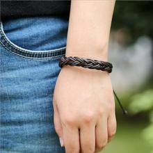 Vintage woven leather bracelet Retractable mens wristband Punk unisex women in charm