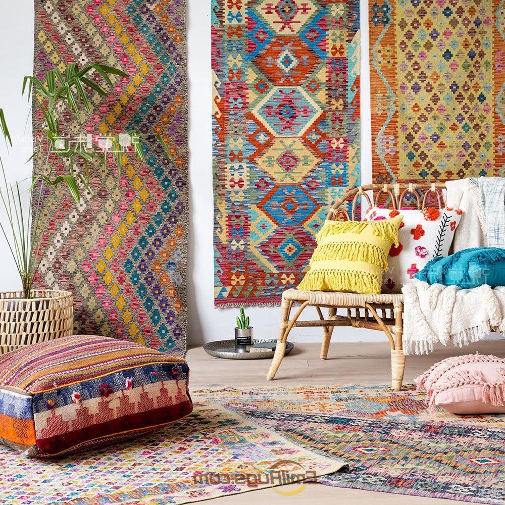 Kilim tapis en laine fait main cadeau géométrique coloré tapis en laine tapis