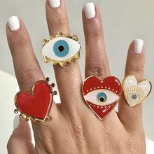 Evil Eye Open Rings Lovely Exagerrated Eyes Lips Charms For Women Jewelry Fashion Punk Statement Rings Party Jewelry Accessories(China)