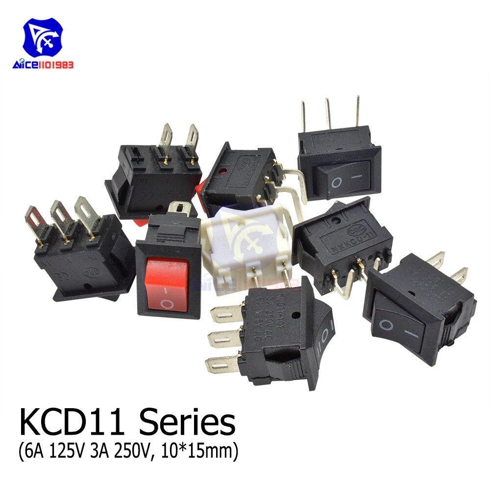 Diymore 10PCS/Lot KCD11-101 Rocker Switch 3A 250V 6A 125V 2Pin/3Pin ON-OFF/ON-OFF-ON 15 X 10mm SPST Switch