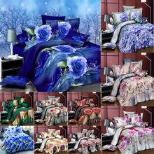 Flower 3D Quilt Cover Bedding Sets Linen Bed Sheet Pillow Case 4PCS Tulip Camellia Double Twin Reactive Print