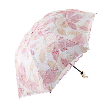 Aurora double layer vinyl 8K patches of Leaveland parasol embroidered restonic san UV-protection A1917 parasol image
