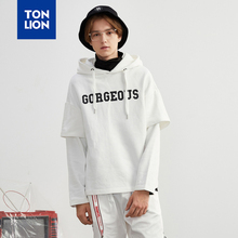 TONLION Fake Two Pieces Sweatshirt Hooded Men Pullovers Fashion Student Literary Hoodies Sweatshirts Letter Dcoration Spring New