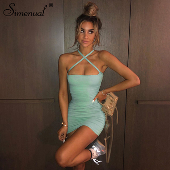 Simenual Ruched Halter Sexy Women Mini Dress Strap Hot Skinny Bodycon Party Clubwear Solid Fashion Dresses Criss Cross Summer цена 2017