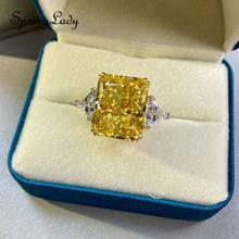 100% 925 Sterling Silver Simulated Moissanite Lab Diamonds 13*16MM Citrine Rings For Women Engagement Wedding Bands Fine Jewelry