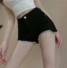 Cakucool novo verão denim shorts diamante miçangas brilhantes chique shorts império rasgado sexy magro shorts quentes roupas femininas