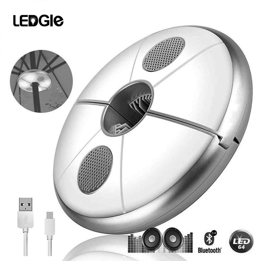USB Rechargeable Parasol Garden Umbrella Light & Bluetooth Lamp Speaker Color Changing  Garden Terrace Decoration  Camping Lamp