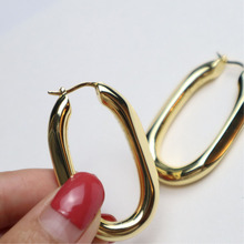 цены на Vintage U shape gold hoop earrings for women thick metal hoop earrings fashion 2019  в интернет-магазинах