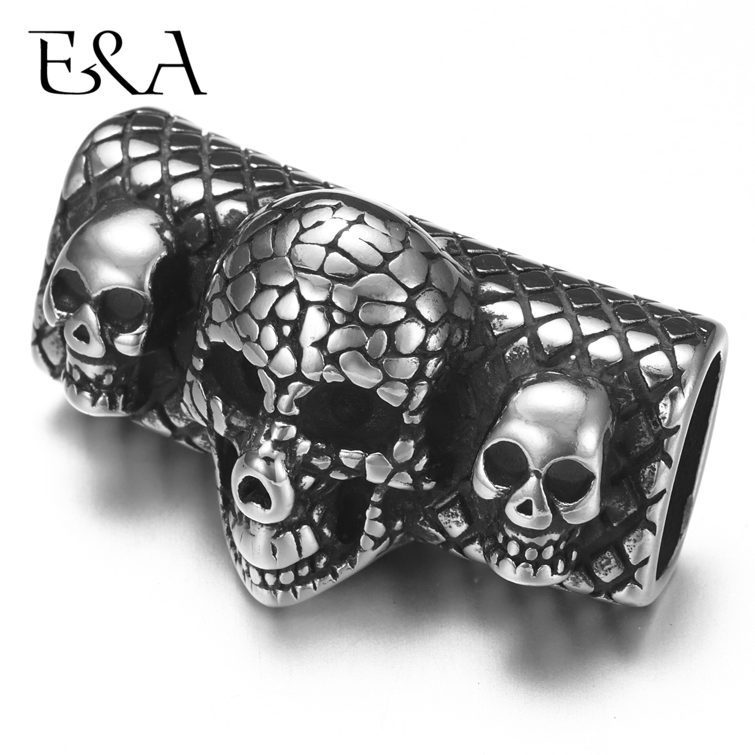 Stainless Steel Punk Three Skull Slider Beads 12*6mm Hole Slide Charms for Mens Leather Bracelet Jewelry Making DIY Accessories