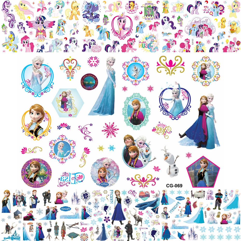 Beauty Cartoon Froze Princess Temporary Tattoos For Girls Makeup Gifts Fake Tattoo Sticker Ice Queen Anna Elsa Tatoos Kids Child