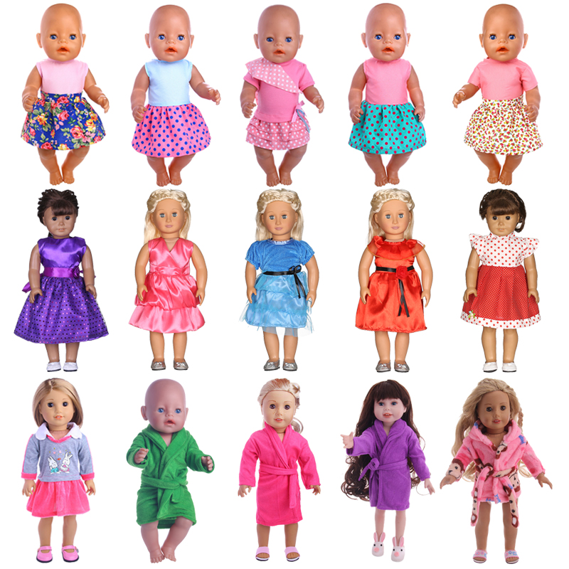 Big Promotions Doll Clothes Dress Skirt Pajamas For 18 Inch American&43 Cm Born Doll For Generation Baby Girl`s Christmas Toy