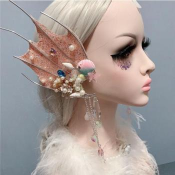 Beautiful Halloween Mermaid Cosplay Accessories Ears Mackerel Headdress Props Elf Ear Fairy Headwear Studio Photography
