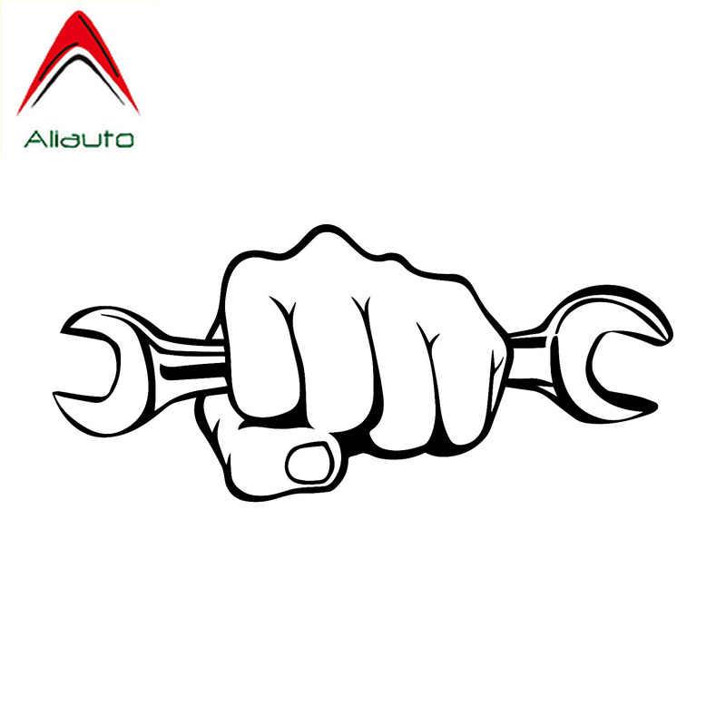 Aliauto personnalisé voiture autocollant mécanicien tenant la clé étanche vinyle décalque pour moto Golf 6 Honda Crv Toyota, 18cm * 8cm