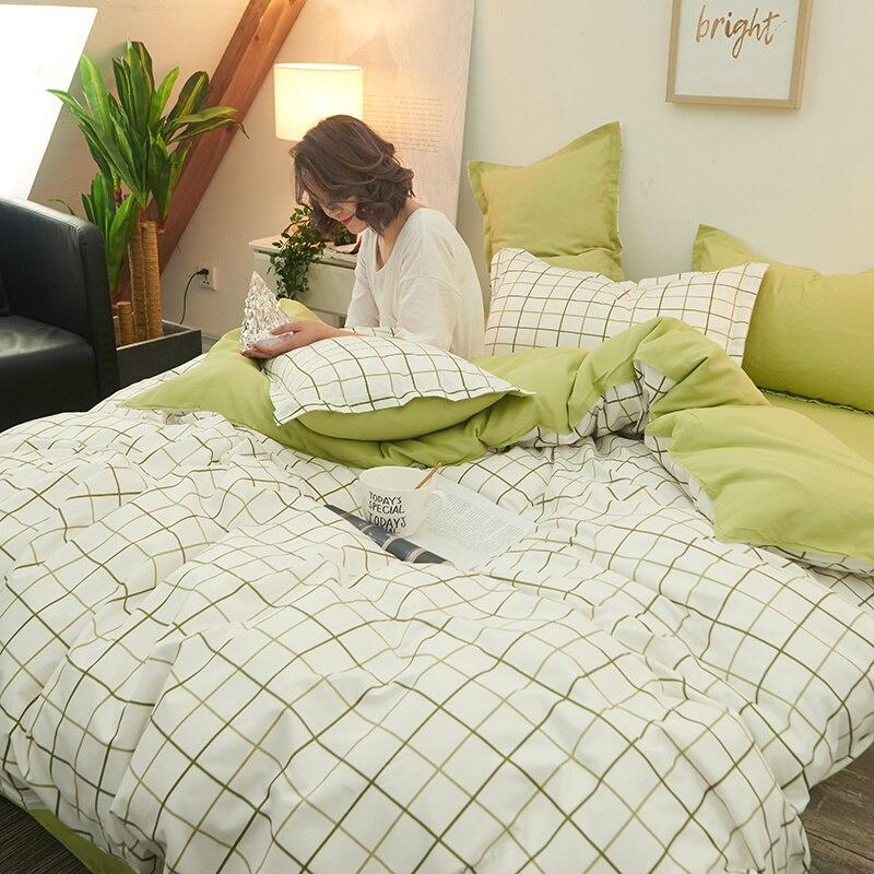 Linen-Set Beige Green Pillowcase Duvet-Cover Flat-Sheet Fruit Bed Square Striped High-Quality
