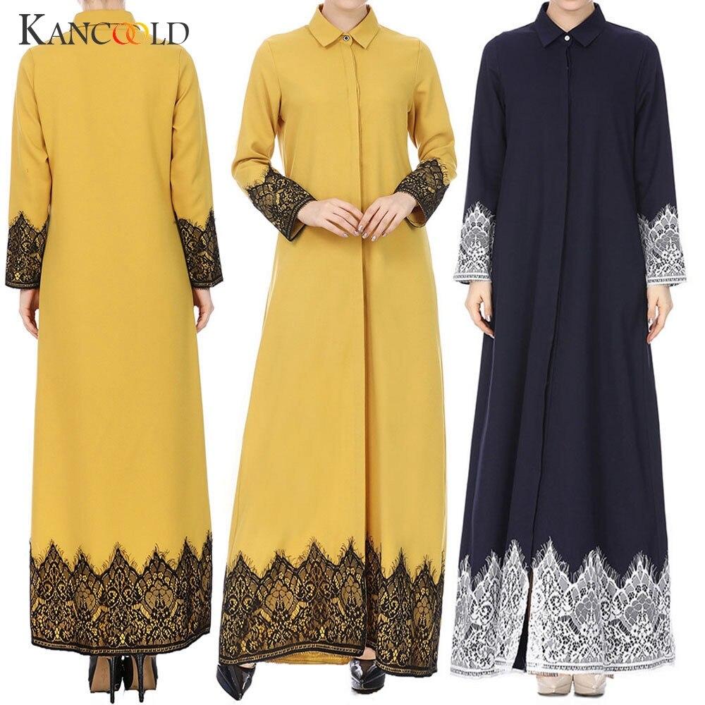 KANCOOLD Muslim Women Lace Trimmed Front Abaya Muslim Maxi Kaftan Kimono Dubai Islamic Clothing Abayas For Women