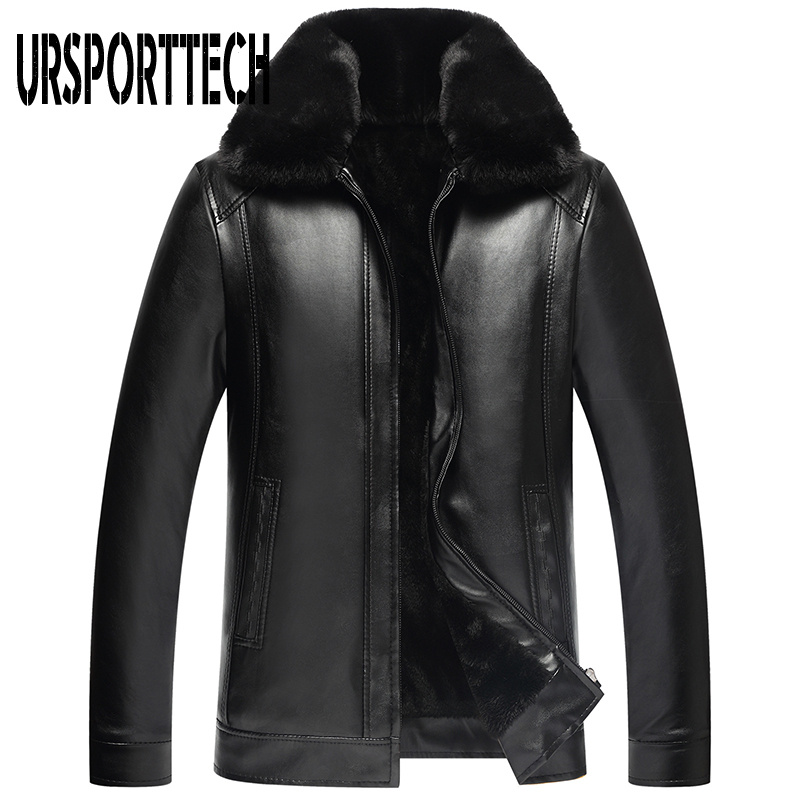 2019 New Fashion Men's PU Leather Jacket Mens Brand Clothing Thermal Outerwear Winter Fur Male Plus Velvet Jacket Plus Size 4XL