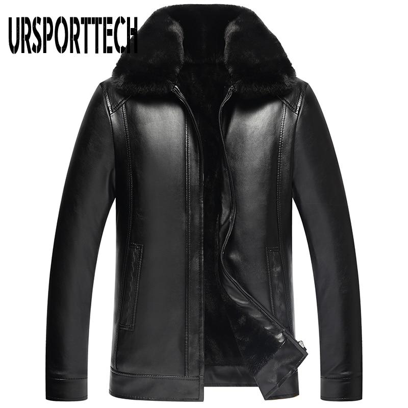 2019 New Fashion Men's PU Leather Jacket Mens Brand Clothing Thermal Outerwear Winter Fur Male Plus Velvet Jacket Plus Size 4XL