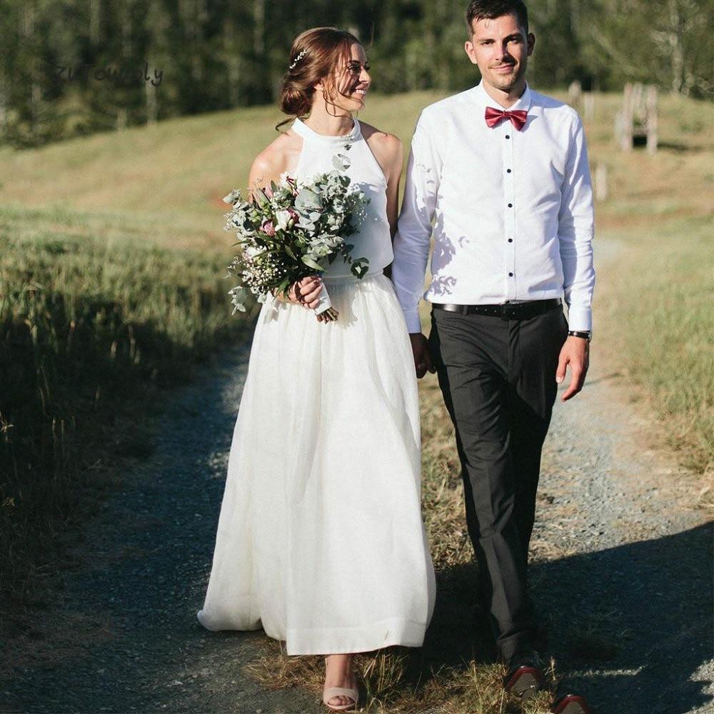 Sevintage Two Pieces Wedding Dress Simple Bohemian Wedding Gowns Halter Boho Wedding Dress  Open Back Chiffon Bridal Gown