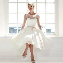 Bohemio vintage marfil vestido casamento civil elegante retro antiguo corto boda 2020 vestido de novia corto de encaje de tul en dubai