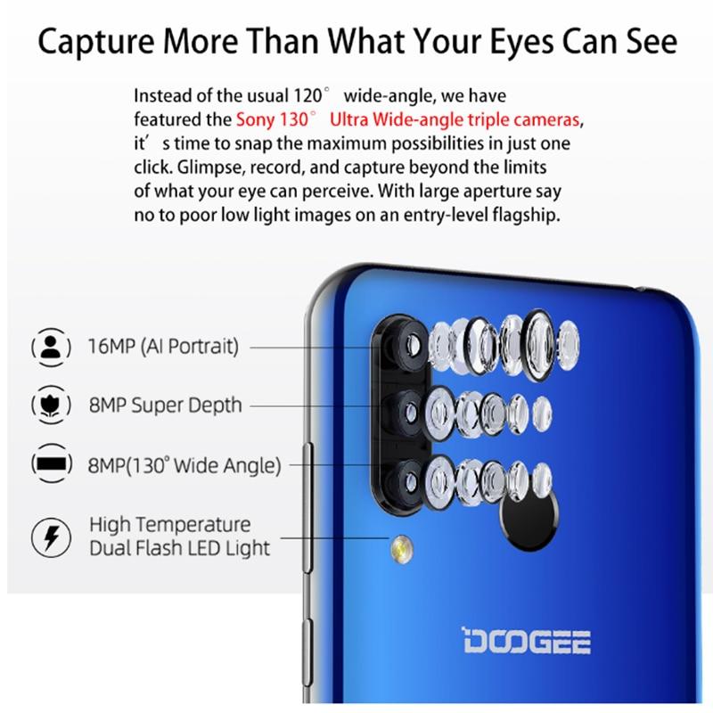 DOOGEE N20 New 2019 Smartphone 6.3inch FHD+ Display 4350mAh 4GB+64GB Octa Core 10w charge Fingerprint 16MP Triple Back Camera