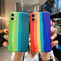 Funda de teléfono de alta calidad para iPhone 12, 11 Pro, Max, Xs, Max, 7, 8 Plus, Mini SE 2020, rayas de TPU suave líquida oficial arcoíris