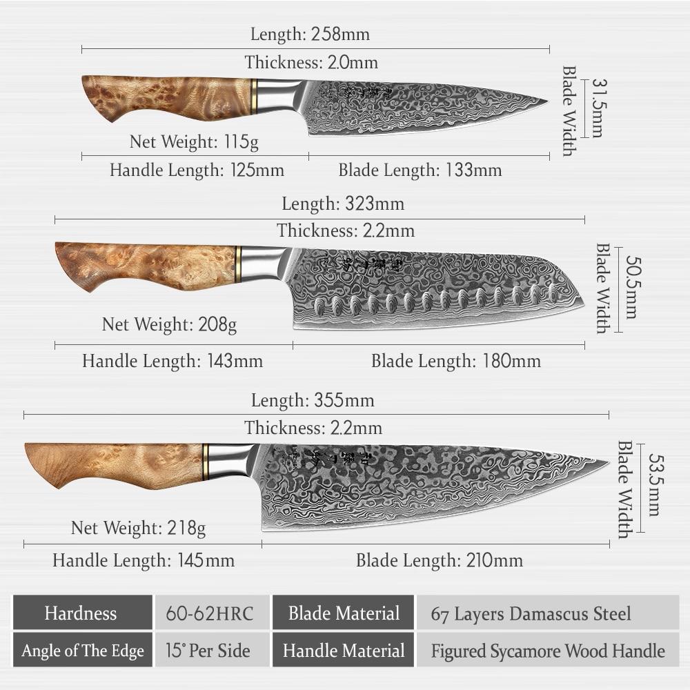 HEZHEN 3PC Knife Set Professional Damascus Super Steel Vg10 Chef Santoku Utility Cook Knife Japanese Sharp Kitchen Knife 3
