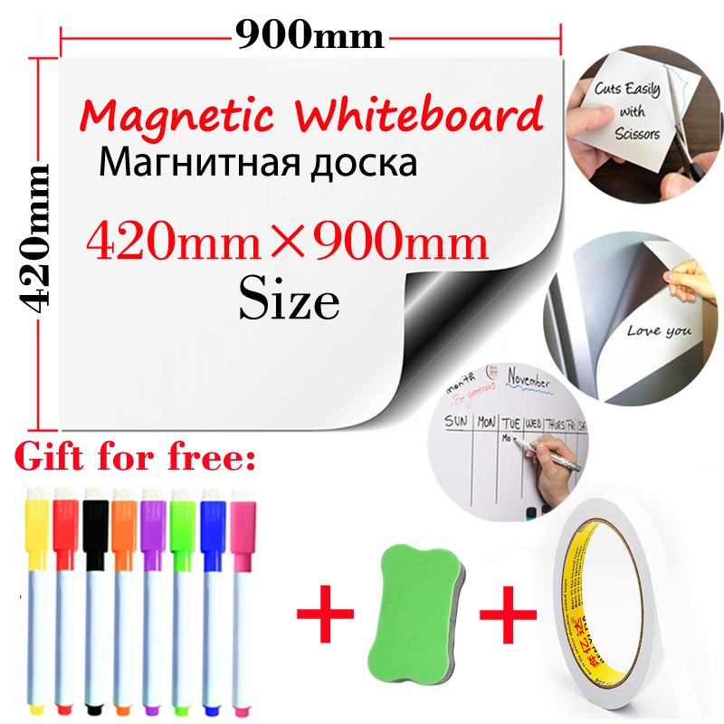Magnetic Dry Erase Board Whiteboard School White Board Fridge Stickers Office Wall Board Message Board With Double-sided Tape