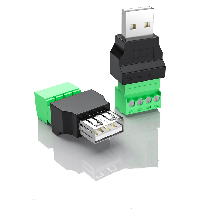 1Pc USB 2.0 Type A Male/Female To Screw Connector USB Jack USB Plug With Shield Connector USB2.0 To Screw Terminal Plug