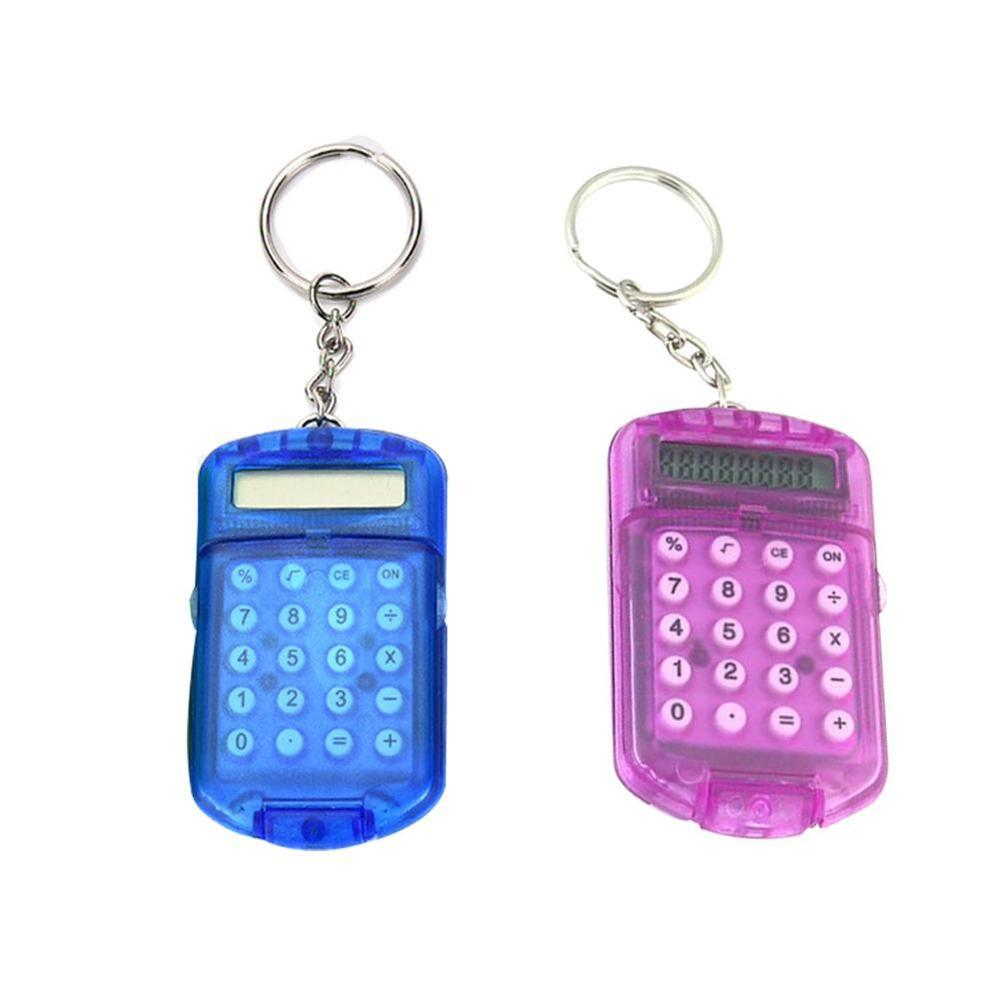 Newest Gray Hard Clear Plastic Casing 8 Digits Electronic Mini Calculator With Keychain Random Color