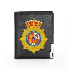 Alta qualidade clássico placa de policía española espanha polícia emblema impressão carteira de couro titular do cartão crédito bolsa curta