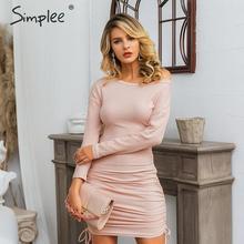 Simplee Elegant women knitted dress Elastic plus size drawstring sexy autumn bodycon dress Winter lady party mini dress vestidos