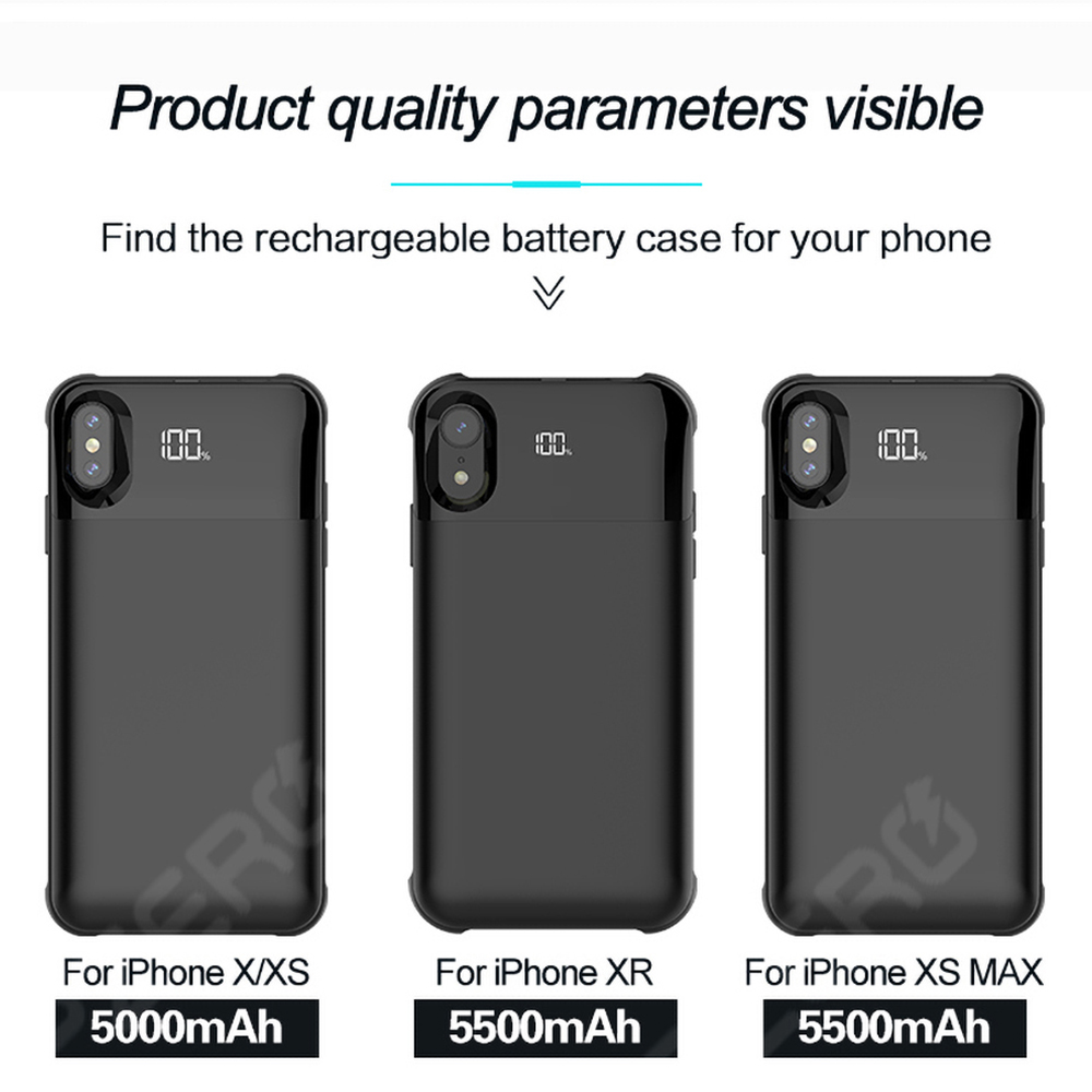 Case Battery-Charger iPhone Portable 8-Plus Universal for 11 6S 5S XR Max-Pro XS 7