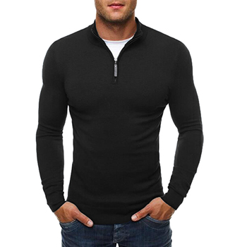Men's Autumn Sweater Pullover Casual Solid Stand Collar Sweaters Dress Slim Zipper Knitwear Thin Male Knitted Pullover Sweaters