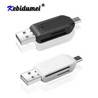 Kebidu Universal USB 2 en 1 lector de tarjetas OTG Micro USB OTG lector de tarjetas TF SD para teléfono inteligente Micro Adaptador USB OTG