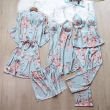 Autumn 5/4/3/2/1 Pcs Set Women Pyjama Print Satin High Quali