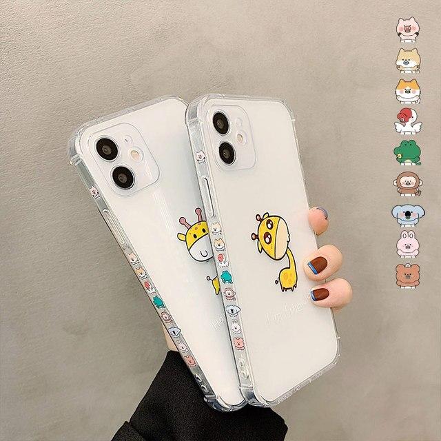 SoCouple śliczne zwierzę żyrafa jasne etui na telefony dla iPhone 11 12 Pro Max X XS XR 12 Mini 7 8 Plus SE przezroczysty miękki TPU okładka