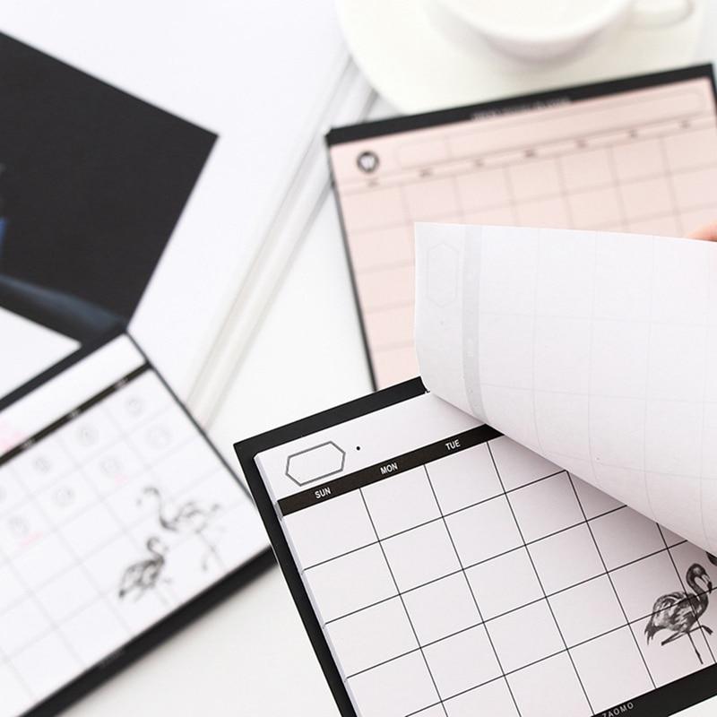 1pc 30 folha criativa simples semanal planejador livro desktop agenda mês plano rasgar o notebook trabalho eficiência resumo Planejadores    -
