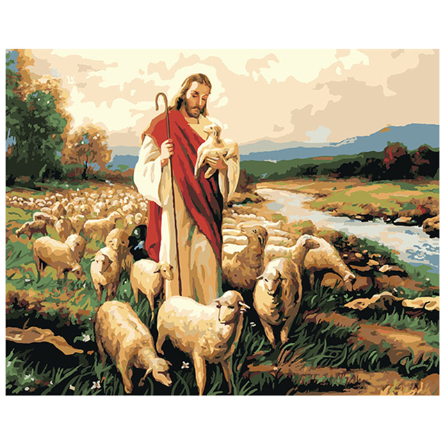 Religious Paint By Numbers Set Jesus The Lamb For Adults