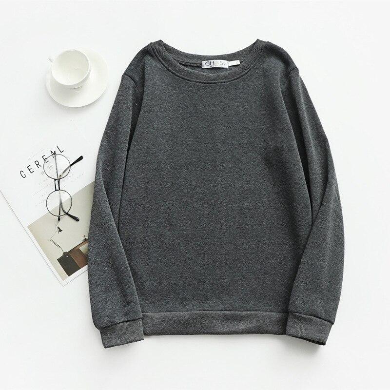 Women Solid Sweatshirts Korean Style Autumn Ladies Student Round Neck Long Sleeve Loose Pullover Tops WDC6301 10