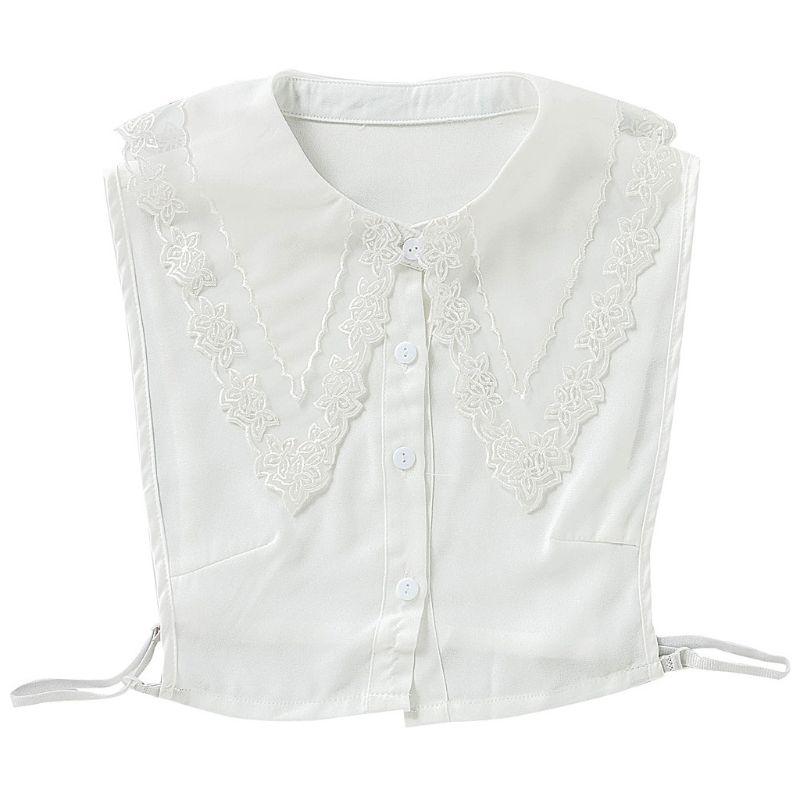 Дамская блузка с большим острым отворотом, ложным воротником, вышивкой, прозрачная Цветочная кружевная Комбинированная женская съемная декоративная половинная блузка