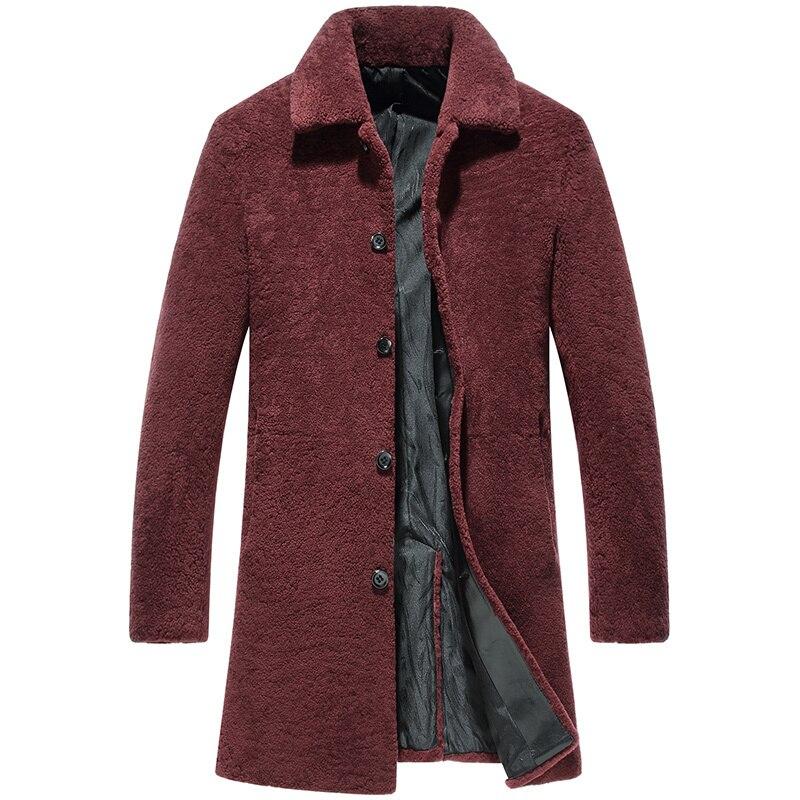 Real Wool Fur Coat Men Autumn Winter Jacket Long Coat Sheep Shearling Jacket Men's Jackets Natural Fur Coats 2020 KJ1162