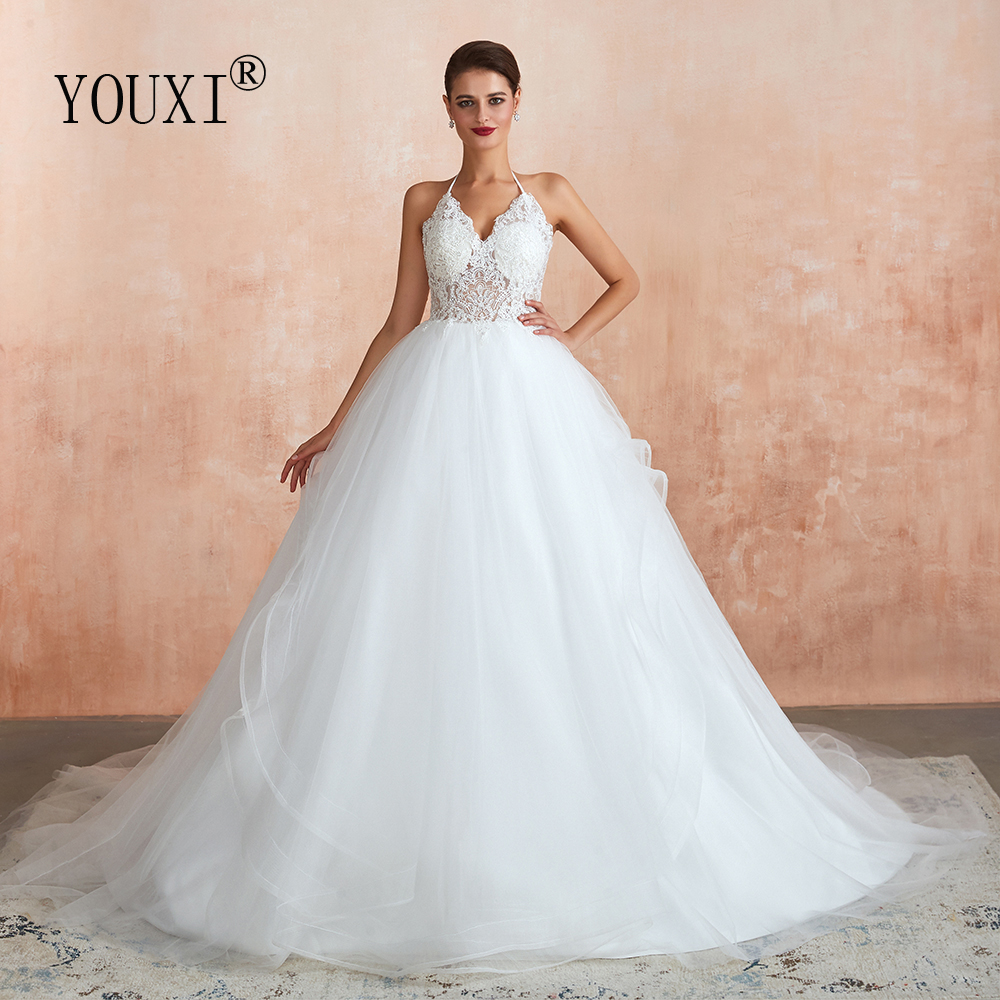 YOUXI Wedding Dress 2019 Ball Gowns Appliques Lace Sequined Halter Backless Weding Bride Robe De Mariee