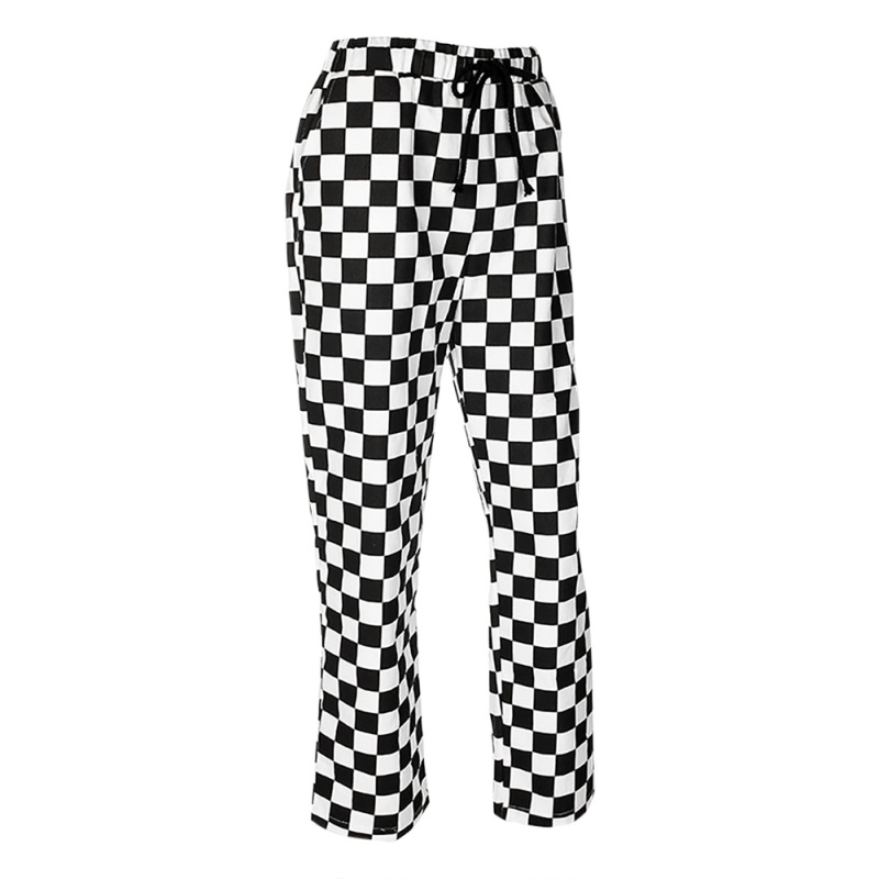 Women Checkerboard Black White Plaid   Pants   High Waist Street Style Hip Hop   Pants     Wide     Leg     Pants   Baggy Straight Elastic Trousers