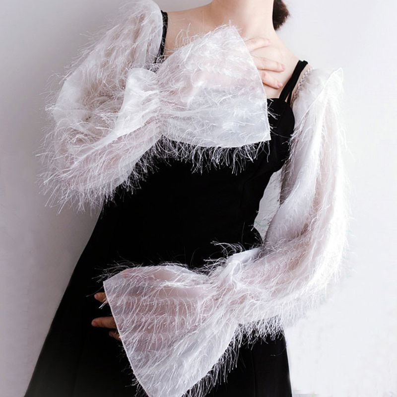 Korean Womens Fluffy Detachable False Long Puff Sleeves Solid Color Decorative Sunscreen Loose Arm Cover Cocktail Party Clubwear