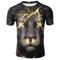 Gran oferta camiseta de verano para hombres cuello redondo ropa de manga corta Animal León 3D impreso camiseta de gran tamaño camisetas para hombres camiseta