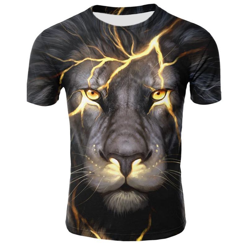 Hot Sale Summer Men's Tshirt O-Neck Short Sleeve Clothing Animal Lion 3D Printed T Shirt Large Size Top Tees Men T-shirt