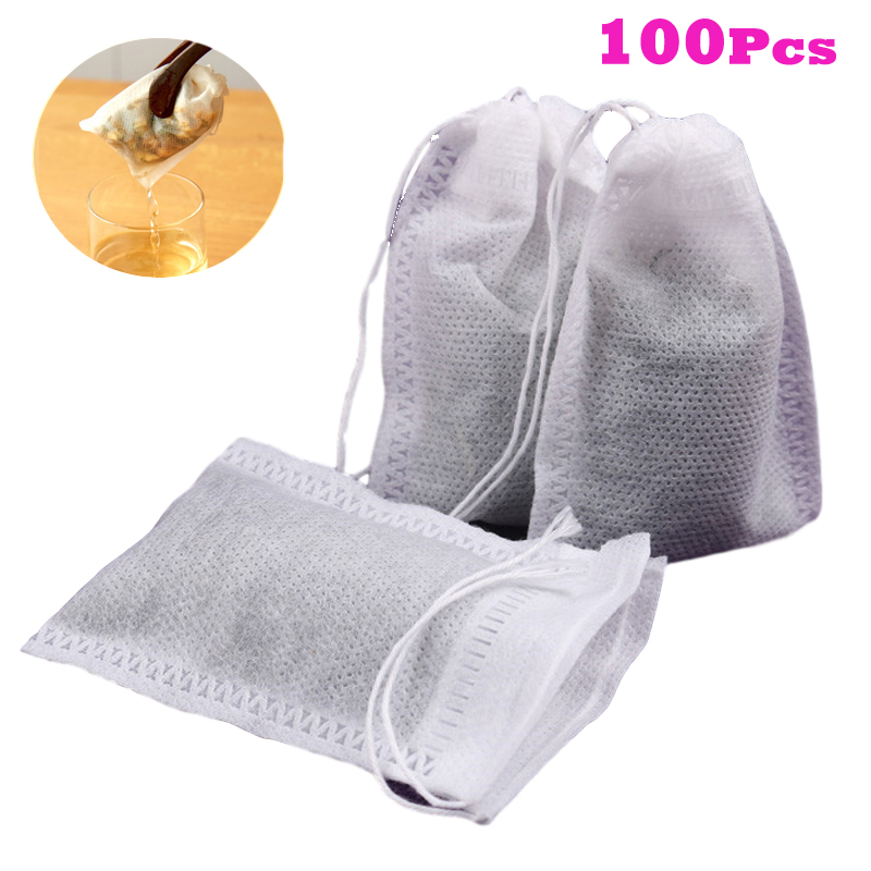 Disposable Teabags 100pcs/Lot 5.5 X 7cm Empty Tea Bags With String Heal Seal Filter Paper For Herb Loose Tea Bolsas De Te