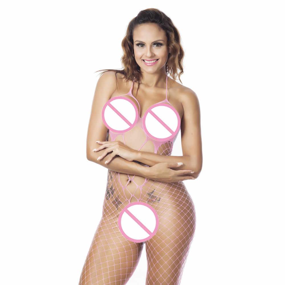 เซ็กซี่ Fishnet Bodysuit ผู้หญิงเสื้อผ้าดูผ่านเปิด Crotch ถุงน่องตาข่าย Hollow OUT ตุ๊กตาชุดชั้นในเร้าอารมณ์